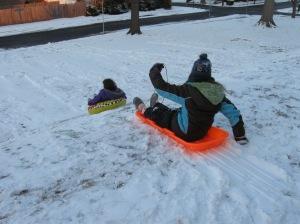 sledding at Rupert Elementary