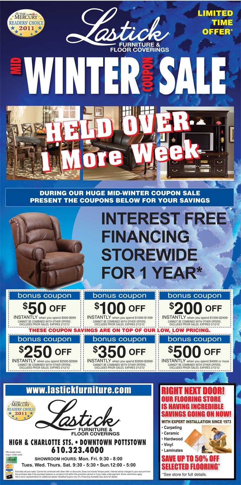 Lastick Furniture U0026 Floor Coverings HUGE Mid Winter Coupon Sale Going On  Until Feb. 12th!